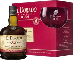 El Dorado Rum 12 YO 70cl, 40%, dárkové balení se skleničkou